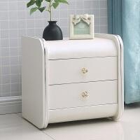 床头柜简约现代收纳柜实木卧室储物柜简易迷你床边柜皮质整装 整装