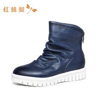 红蜻蜓女鞋秋冬季新款ins潮鞋百搭学院风英伦风短靴子