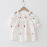 女童T恤 2018夏季新款小清新印花露肩短袖上衣 宽松娃娃衫 草莓 预售付款后3天发
