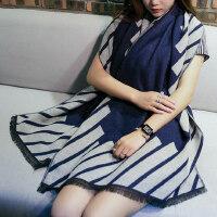时尚披肩两用纯色双面围巾女可爱长款格子流苏围巾