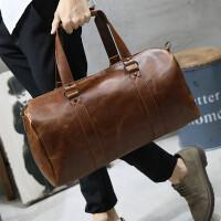 12新款男士旅行包手提斜挎包旅游休闲男包韩版出差单肩包行李包疯马皮潮 全场满2件送手包
