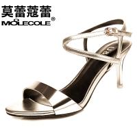 莫蕾蔻蕾 凉鞋女夏细跟高跟鞋 韩国版一字扣甜美露趾女鞋 6x208