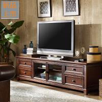 美式乡村实木电视柜茶几组合套装现代简约电视机柜子客厅家具地柜定制 整装