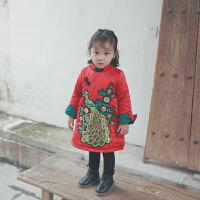 冬装唐装新年装拜年复古中国风旗袍 女童冬季加绒亮片凤凰连衣裙