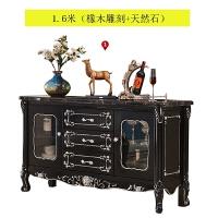 欧式大理石餐边柜全实木雕花玄关柜色餐厅酒柜碗柜客厅储物柜 双门