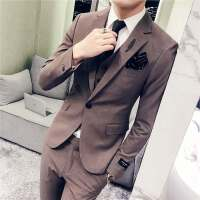 西服套装男士纯色休闲西装三件套韩版修身弹性新郎礼服西装正装潮