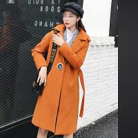 羊毛呢外套女中长款韩版2018秋冬新款焦糖色学生加厚冬天呢子大衣