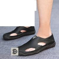 男士休闲鞋透气豆豆鞋男鞋懒人鞋子凉鞋洞洞鞋夏季镂空男皮鞋