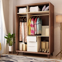 北欧实木衣柜现代简约三门衣柜卧室储物柜带抽屉衣柜家具 北欧实木白蜡木三门三抽衣柜 3门