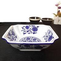 酒店用特色餐具青花瓷大碗陶瓷汤碗面碗汤盆家用菜碗正方形碗
