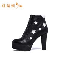 红蜻蜓粗跟短靴秋冬季高跟女鞋新款英伦风百搭高跟短靴