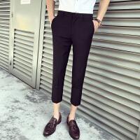 春夏男士九分裤韩版修身时尚休闲西裤男青年夜店发型师潮流小脚裤