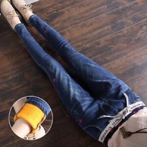 新款加绒牛仔裤女冬季修身加厚松紧腰宽松弹力显瘦小脚裤
