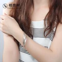相思树 S990纯银手镯 女款日韩银镯子波西米亚光面多圈足银手环饰品