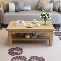 茶几 现代简约木质简易小户型复古茶桌简约双层矮桌家用客厅喝茶吃饭餐桌省空间桌子