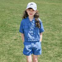 女童套装夏夏季儿童两件套女大童牛仔休闲运动装童装