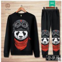 青少年卡通熊猫连帽衫卫衣外套秋冬加绒休闲运动情侣套装男女大码