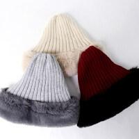 可爱加厚仿兔毛蝴蝶结针织帽学生时尚保暖毛绒毛线帽子女
