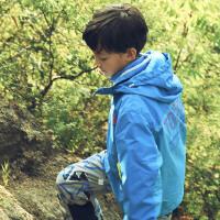 【秋冬热卖】探路者童装 男女童拼色印花三合一套羽绒冲锋衣服