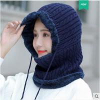 秋冬季韩版百搭时尚针织帽子女帽骑车防风护耳围巾一体毛线帽