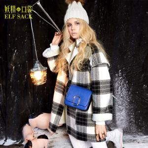 妖精的口袋惹人感怀冬装学院格子呢子大衣羊羔绒毛呢外套女长款