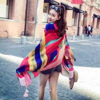 户外围巾时尚棉麻防晒披肩旅游度假丝巾女百搭沙滩巾长款海滩纱巾