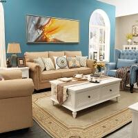 美式布艺沙发田园地中海风格现代简约小户型三人沙发组合客厅整装 ++