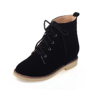 ELEISE美国艾蕾莎新品秋冬177-168-29韩版磨砂绒面平底鞋女士马丁靴短靴