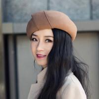 帽子女贝雷帽韩版百搭日系英伦复古名媛礼帽女士南瓜羊毛毡帽