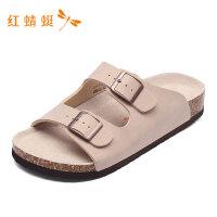 红蜻蜓男鞋夏季新款男凉鞋搭扣露趾透气沙滩纯色百搭男休闲凉鞋-