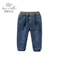 加绒戴维贝拉冬季男童装弹力保暖牛仔裤子DB2965
