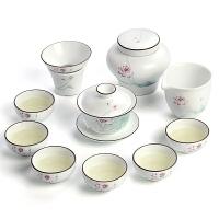 脂白家用陶瓷功夫茶具套装简约盖碗茶杯茶具整套礼盒装景德镇茶具