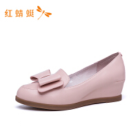 红蜻蜓女鞋春秋经典百搭新款牛皮低跟平底鞋乐福鞋女单鞋