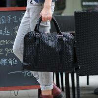12新款男包包时尚手提包韩版单肩斜挎包 潮商务公文包编织背包休闲包 黑色