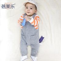 宝宝婴儿童连体衣服1岁8个月春季新生儿长袖薄款哈衣爬服款