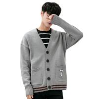 针织开衫男春秋薄款外套男士休闲纯色毛衣修身线衣韩版潮流羊毛衫