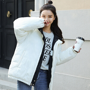 面包服2018冬季新款加厚羽绒棉服女短款双面穿宽松学生棉衣外套