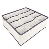 优芬 加高型内衣收纳盒|收纳箱|储物盒|整理盒 拉链收纳盒18格 米色 34*32*12