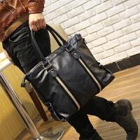 韩版男包休闲包单肩包手提斜挎包潮流商务原创设计男士条纹皮包新SN8704 黑色 全场满2件送手包