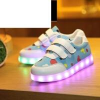 发光鞋儿童灯鞋大童发光鞋7彩灯USB充电L闪光小孩亮灯荧光板鞋2017新款