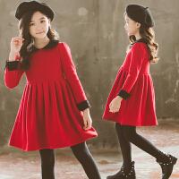 秋冬季加绒洋气红色新年装儿童小女孩公主裙子女童连衣裙