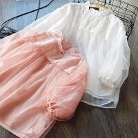 仙美~女童娃娃衫2018春季新款韩版纯棉网纱蕾丝泡泡袖公主上衣T恤