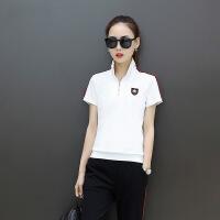 运动休闲套装女2018夏季新款韩版时尚立领短袖长裤两件套跑步服