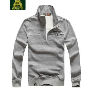 战地吉普AFS JEEP 2017秋冬季长袖T恤男 中年男士立领条纹POLO套头衫LZ6081