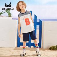 【超品日3件2折:55.8】巴拉巴拉旗下 巴帝巴帝童装男童T恤/POLO2019春夏新款篮球服两件套休闲运动