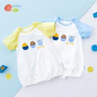贝贝怡宝宝短袖连身衣夏季新款儿童纯棉肩开包屁衣192L234