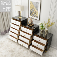 后现代轻奢斗柜简约不锈钢镀金烤漆三四五斗柜收纳抽屉储物柜家具定制 整装