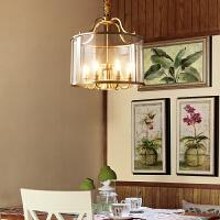 全铜美式玻璃吊灯餐厅灯餐桌饭厅大气现代简约个性家用灯具