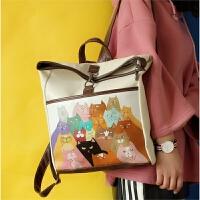 动漫猫咪涂鸦双肩包女韩版大容量潮 日系pu学生旅行背包原宿书包