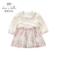 davebella戴维贝拉女童 春季新款长袖连衣裙 女宝宝裙子32088